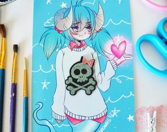 Pastel Goth, Kawaii Art, Pastel Anime, Pastel Anime Art, Original Anime, Goth Art, Creepy Cute Art Print, Anime Print, Anime Art