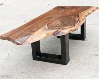 Live Edge Walnut Coffee Table Steel Base Nakashims Style Rustic Coffee Table Natural Edge Table Vintage Industrial Steel Base Coffee Table