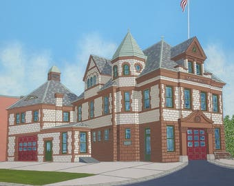 Steamer No. 1 Firehouse, Albany New York - Fine Art Giclee Print, Architecture, Wall Art, Home Decor