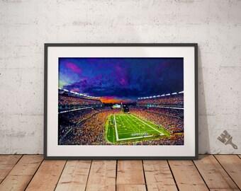 Patriots Print, Gillette Stadium Painting, Patriots painting, football art, football painting, Patriots Poster, NFL print, patriots wall art