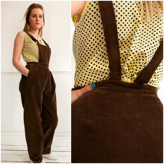 Vintage 60s Dungarees Corduroy Dungarees Womens Small Brown Overalls Oversize Baggy Dungarees Mens XS Retro Corduroy Bibs Pleated Cords XS S nUdHqjUgXW