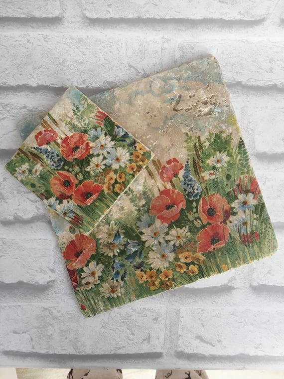 Handmade Wild Flowers Natural Stone Tableware Pot Stand- Coasters- Home Decor- Spring- Kitchen & Handmade Wild Flowers Natural Stone Tableware Pot Stand