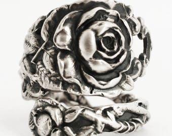 Tea Rose Ring, Sterling Silver Spoon Ring, Silver Rose Flower Ring, Floral Victorian Rose Silver, Gardener Gift, Adjustable Ring Size (6716)