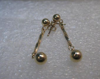 "14kt Gold Stud & Dangle Pierced Earrings, 1"", .61 grams, signed CI"