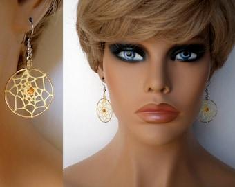 Dangle Earrings, Yellow Yarn Dream Catcher with Gold Hoop, Boho Southwestern Country Western Wear, ID 540308535