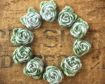 Fabric Flower Applique   Crocheted Flower   Floral Applique   Blue Green Flower   Fabric Flower Applique   Small Fabric Flower   (10pcs) A32