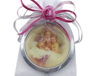 12 Pcs Baptism Compact Mirror Favors for Girl -Bautizo Recuerdos / Baby Angels Makeup Compact Mirrors with Decorated Pouches GG054-Pnk