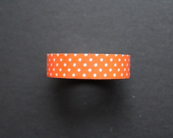Orange polka dot printed cotton tape