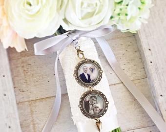 Photo mariée charme, pendentif Photo Bouquet, Bouquet Memorial charme, charme de mariage personnalisé, cadeau de mariage, Bouquets de souvenir, cadeau pour la mariée