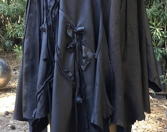 showdiva designs Asymmetrial Leather Cape Coat Poncho Fringe Sculpted Flowers StUnNiNg