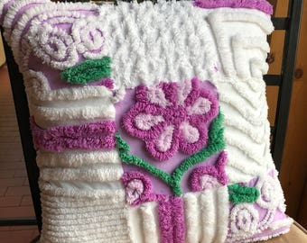 Stunning Chenille Bedspread Throw Pillow Cover Snowy White with Purple Flowers Accent