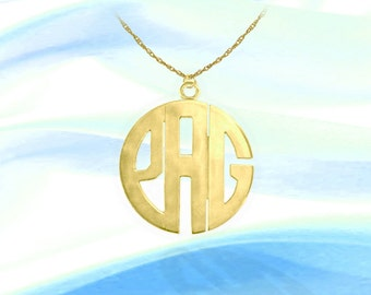 Block Monogram Necklace - 1 inch 24K Gold Plated Sterling Silver Handcrafted - Personalized Initial Necklace - Made in USA