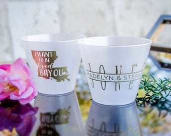 Colored Hard Plastic Cups, I Want to Be Loved Bayou, Printed Party Cups, Personalized Colorful Cups, Monogram Wedding Cups, Louisiana Party
