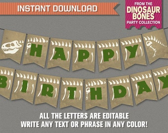 Dinosaur Bones Party Banner with Spacers - INSTANT DOWNLOAD - Editable PDF file - Print at home - Dinosaurs Birthday Banner
