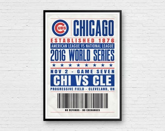 Chicago Cubs, World Series Art, Wrigley Field Art, Cubs Art, Chicago Cubs Poster, Chicago Art