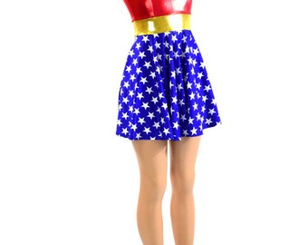 Super Hero Red White & Blue Fit and Flare Skater Dress Lycra Spandex 150985
