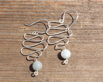 WIRE WRAPPED EARRINGS Aquamarine in Silver Handmade
