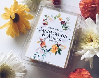 SANDALWOOD & AMBER Soy Wax Melts | Scented Wax Melts | Scented Wax Tarts