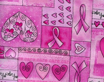 Timeless Treasures  Pink Breast Cancer Awareness Hope Ribbons #C1766-PNK
