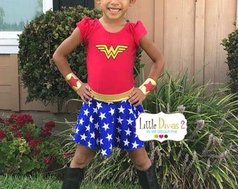 Wonder Women Leotard,Skirt & headband/cuffs (Child) Costume Set....Superheros