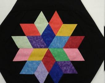 Colorful rainbow star mini quilt