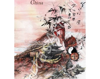 China, graphic, print, ink print, home decor, print wall art, illustration, nurcery painting, countries, dragon, great wall, traveling