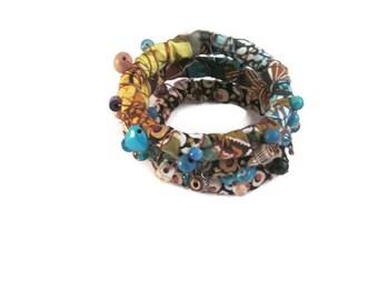 Hippie Bead and Wire Wrapped Bangle Bracelets, Gypsy Bangles, Bangle Bracelets