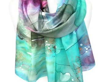 Music Scarf. Aquamarine Silk Scarf. Hand Painted Musical Notes Turquoise Scarf. Waterlily Shawl. 18x71in (45x180cm) MADE to Order
