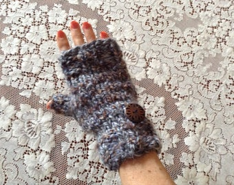 Warm, Thick Fingerless  Mitts with Accent Button