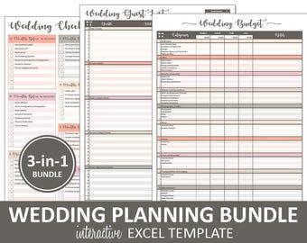 Peachy Wedding Bundle - Wedding Planning Printable Excel Templates | Budget | Guest List | Wedding Checklist | Instant Digital Download