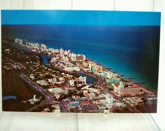 "Vintage Miami Beach Postcard, 3.5"" x 5.5"" Aerial Picture Miami Skyline Photo, Atlantic Ocean View, South Florida Travel Souvenir Memorabilia"