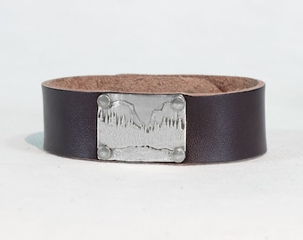 "Yosemite Leather Cuff Bracelet-  3/4"" leather cuff. Matte brass or sterling over brass . For guys and gals"