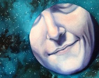 The Man on the Moon Smiles - Print