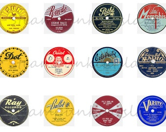 """Record Label Magnets, Record Label Pins, Vintage Record Labels, Record Labels, 1"""" Flat, Hollow Back or Cabochons, 12ct"""