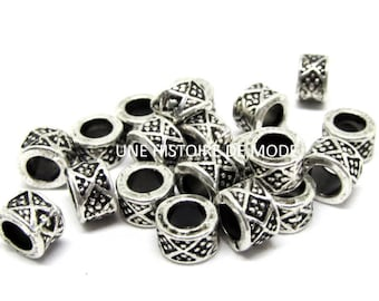 20 antique silver 8 x 5 mm metal spacer beads