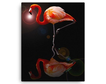 Flamingo In Space - Wildlife Bird Animal Series Canvas Wall Print - 16x20 Inch Stretched Wrap Around Canvas - From Digitally Painted Illustr