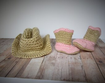 Crochet cowboy hat and boots set, cowboy hat, cowboy boots, cowgirl hat, cowgirl boots, baby cowboy hat, baby cowboy boots, western wear