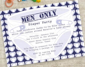 Man Shower Invitation Diaper Party - Man Baby Shower Chuggies and Huggies, Diapers and Dads Printable Invitation
