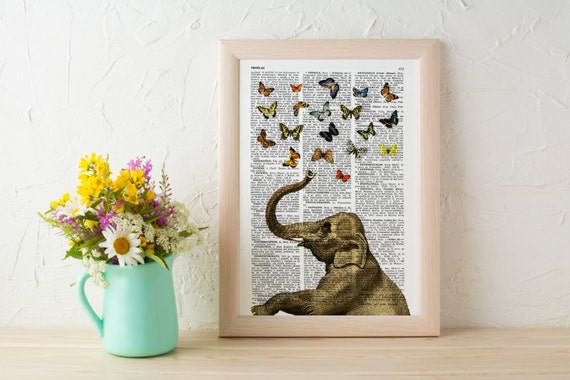 Elephant in love counting butterflies book print - Elephant in love collage Printed on book page ANI088b