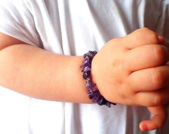 Baby bracelet Amethyst , Baby jewelry. Healing stone baby, beaded bracelet baby. Baby gemstone bracelet