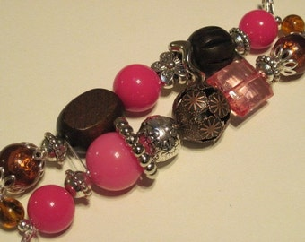 Brown and pink with silver accent beads double stranded interchangeable watch band