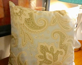 Waverly Blue Cream floral stripe fabric | Pillow Cover 16 in by 16 in | Throw Pillow Cover