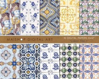 Digital Paper 'Lisbon Tiles II' Portuguese Wall Tiles Printable Scrapbook Papers Digital Download, Scrapbooking, Cards, Invitations...