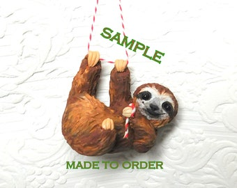 Hanging Sloth ornament by Raquel at the WRC hand sculpted polymer clay Collectible
