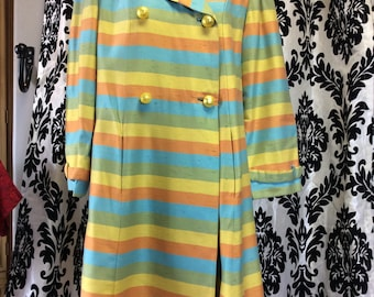 Delightful 60's Mod Striped Coat