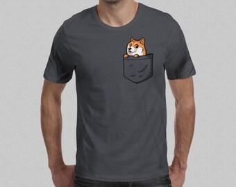 Pocket Doge T-Shirt - Dogecoin Shirt / Men's Shibe T-Shirt Shiba Inu / Funny Doge Meme Cute Doge Tee / Funny Meme Graphic T-shirt