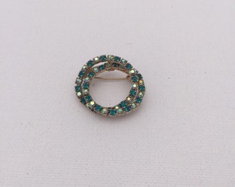 Vintage Green Crystal AB Double Circle Pin/Brooch