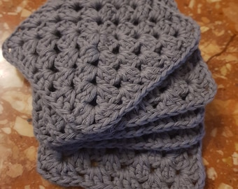 Set of 6 grey square crocheted coasters croched neutral caloured coasters