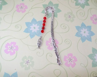 Silver Ichthys Religious Jesus Charm with Red Glass Crystal and Silver Beaded Bookmark/Bookhook - Ready to Ship