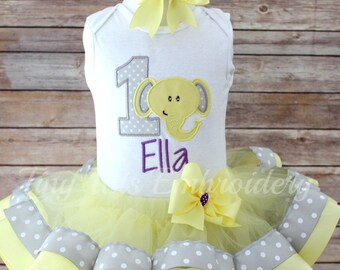Elephant Birthday Tutu Outfit ~ Includes Top, Ribbon Trim Tutu & Hair Bow ~ Customize in any colors!!